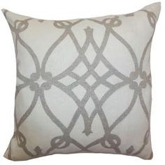 """A lovely touch for your sofa, bed, or chaise, this stylish pillow showcases a latticework motif and feather-down fill. Made in the USA.       Product: PillowConstruction Material: Cotton cover and 95/5 feather-down fillColor: Soft charcoal and whiteFeatures:  Insert includedHidden zipper closureMade in the USA Dimensions: 18"""" x 18""""Cleaning and Care: Spot clean"""