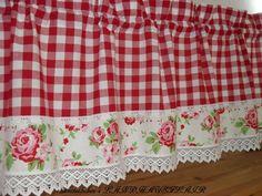 Gardinen - ♥Landhausgardine♥KLÖPPELSPITZE♥ROSEN♥Karo♥rot♥ - ein Designerstück von rosenstuebchen bei DaWanda