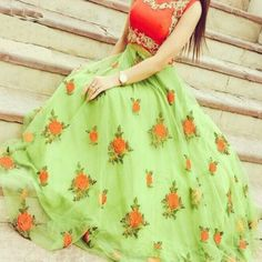 60 Gm Georgette Machine Work Green Semi Stitched Long Anarkali Suit - GEEN
