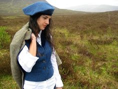 Women's tweed and velvet waistcoat. Designed and handmade in Scottish Highlands.  Inspired by times past