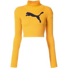 Fenty X Puma cropped logo turtleneck jumper (2,650 MXN) ❤ liked on Polyvore featuring tops, sweaters, shirts, crop tops, blusas, long-sleeve shirt, long sleeve turtleneck shirt, long sleeve crop top, long sleeve shirts and cropped turtleneck sweater