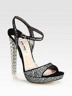 Miu Miu Glitter and Suede Sandals 60% off