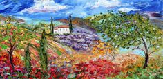 Original painting ITALY Tuscany Landscape palette knife Oil on canvas modern fine art impressionism fine art by Karen Tarlton