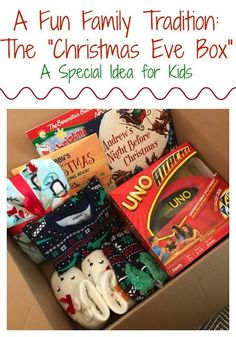 """Christmas Eve Tradition for Families: Christmas Eve Box Here is one of our favorite traditions of the holiday season. On Christmas Even, the kids get so excited to open this special \""""Christmas Eve\"""" box. Christmas Eve Traditions, Its Christmas Eve, First Christmas, Diy Christmas Gifts, Winter Christmas, Holiday Fun, Christmas Decorations, Christmas Eve Box For Kids, Family Christmas Traditions"""