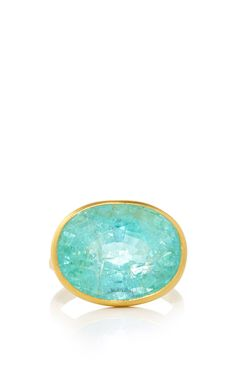 22K Yellow Gold and Paraiba Princess Ring by Marie-Hélène de Taillac for Preorder on Moda Operandi