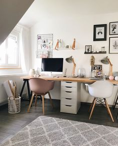 Shared Office Space Ideas For Home & Work Home Office Setup, Home Office Space, Home Office Design, Office Ideas, Study Room Decor, Room Ideas Bedroom, Bedroom Decor, Shared Office, Small Office