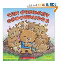 In this alliterative countdown book, ten groundhogs cannot wait for winter to end so they can get out of their den!    Ten grouchy groundhogs  Crowded in their den,  They squirmed and they stretched  And then...then...then...    TEN GROUCHY GROUNDHOGS is a hilarious countdown story about a den of grouchy, grubby, gobbling, gabby, giggly, groovy, graceful, glitzy, gleeful, groggy groundhogs getting ready for their great big day.    Show More   Show Less