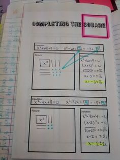 Math = Love: Algebra 2: Solving Quadratics INB Pages - Completing the Square, picture juxtaposed with the algebra would be a great way to improve intro next year