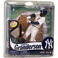 McFarlane Toys Curtis Granderson from the Detroit Tigers MLB Figure Curtis Granderson, Detroit Tigers, Mlb, Action Figures, Baseball Cards, Toys, Sports, Board, Silver