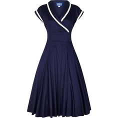 Collectif YOSHIMA Vintage 50s CROSSOVER Swing Dress KLEID Rockabilly |... ❤ liked on Polyvore featuring dresses, cross over dress, rockabilly swing dress, vintage dresses, blue swing dress and surplice dress