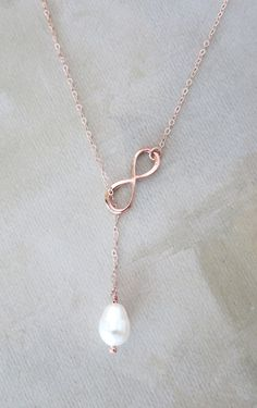 Rose Gold Infinity and Teardrop Pearl Lariat Y