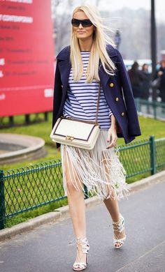 Fringe skirt worn with a striped t-shirt and a navy boyfriend blazer
