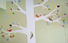 fun bird mural for the wall using scrap fabrics!