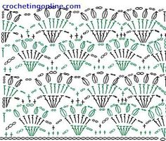 lacy crochet fan stitch diagram | Crochet Stitch Patterns -- Shell Stitch Patterns --Crown Lattice