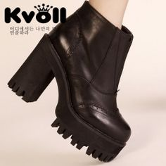X63931 Kvoll Korean fashion side zipper thick high heel short boots black [X63931] - $45.00 : China,Korean,Japan Fashion clothing wholesale and Dropship online-Be the most beautiful Lady