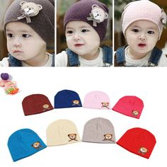 d137928d720 Boy Girl Toddlers Baby Beanie Hat Bear Labeling With Small Dot Hat   Affiliate Knitted Baby