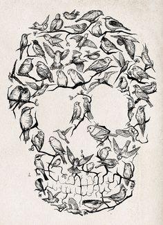 #skull #birds #art