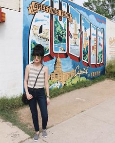 @newdarlings on instagram - casual travel style - striped tee and sneakers - Exploring Austin with #sperrystyle #sxsw
