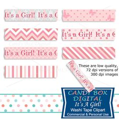 It's a Girl Digital Washi Tape Clipart Baby by CandyBoxDigital. At our Etsy shop.