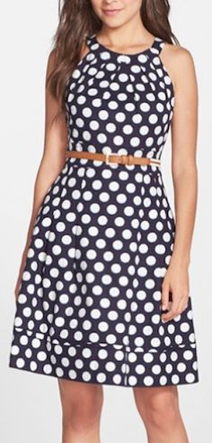 darling blue and white dotted dress