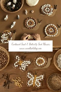Cardboard Snail and Butterfly Seed Mosaics Craft Activities For Kids, Toddler Activities, Preschool Activities, Toddler Play, Toddler Crafts, Nature Crafts, Fall Crafts, Diy For Kids, Seed Art For Kids