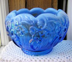Fenton Sapphire Blue Opalescent Lily of the Valley Rose Bowl