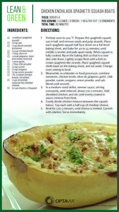 Chicken Enchilada Spaghetti Squash Boats – Amazing World Food and Recipes Medifast Recipes, Diet Recipes, Cooking Recipes, Healthy Recipes, Skinny Recipes, Freezer Recipes, Freezer Cooking, Snacks Recipes, Dining