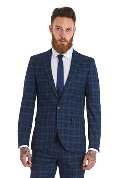 Click to enlarge Moss London Mens Suit Slim Fit Single Breasted One Button Blue