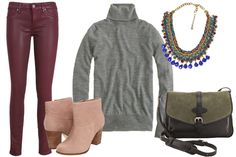 Dinner  These oxblood leather pants are so in season, and a statement necklace can jazz up the laid-back look of a turtleneck in a big way. Keep your footwear simple with a fall-perfect bootie, and you're ready to dine.