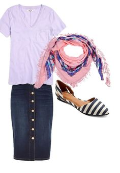 modest lilac outfit, modest denim skirt outfit, modest spring outfit, modest casual outfit Casual Outfits, Skirt, Polyvore, Fashion, Moda, Casual Clothes, Fashion Styles, Fashion Illustrations, Casual Styles