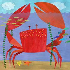 Arrastre cangrejo, impresión del arte de la lona