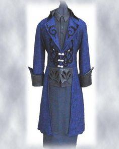 pirate coat | Blue and silver brocade frock coat with black velvet serpentine design ...