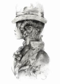 Melbourne based artist Jessica Stewart creates dreamy,monochromatic portraits of pale skinned youths and woodland creatures. Jessica Stewart, Art For Art Sake, Woodland Creatures, Face Art, Natural World, Life Is Beautiful, Surrealism, Graphic Art, Cool Art