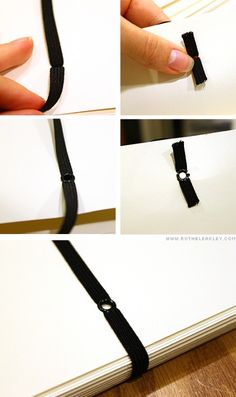 Here's how you set elastic with an eyelet – first you need an eyelet setting tool (yep, sorry, no real trick here – try a Cropadile, it will totally revolutionize eyelet setting for you). Then, punch the 3/8″ hole where you'd like it – for me it was on the back cover of the book. Then cut out a length of 1/4″ inch elastic – I got mine in bulk from a spool at the local sewing store. Thread both ends into the hole, flatten them where they come out on the other side (make sure to leave extra roo...