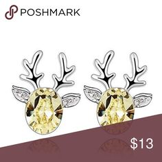 COMING SOON  Yellow Crystal Reindeer Earrings Light yellow crystal set in silver plated, nickel free alloy.  Small crystals in ears.                           1.8 cm x 1.5 cm Jewelry Earrings