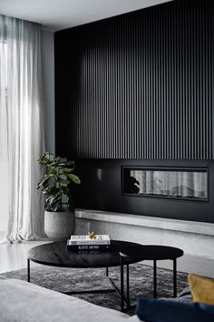 Black on black: A sleek and dramatic home tour. Black timber panel wall in livin. Black on black: A sleek and dramatic home tour. Black timber panel wall in living room, architectural timber panel wall, timber panel detailing in home Modern Home Interior Design, Interior Architecture, Luxury Interior, Interior Designers Melbourne, Modern Classic Interior, Black Architecture, Monochrome Interior, Contemporary Classic, Sustainable Architecture