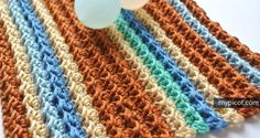 Very simple Crochet stitch with ribbed effect. Soft and elastic. Good for scarfs and snoods. Diagram + instructions.