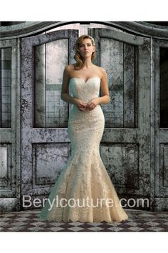 Trumpet Mermaid Sweetheart Low Back Champagne Color Lace Wedding Dress With Buttons