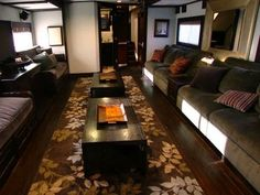 Vin Diesel's ample motor home includes a media lounge and kid's play area. Watch on uLive Two Story Mobile Homes, Truck Interior, Interior Design, Luxury Motorhomes, Luxury Rv, Kids Play Area, Vin Diesel, Tiny Living, Wall Oven