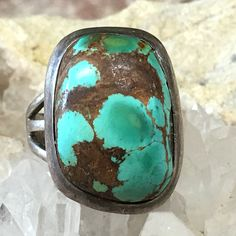Turquoise Ring Signed Navajo Sterling Silver