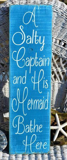 Beach Decor, Bathroom Decor, Beach Art, Distressed Reclaimed Wood Sign, Salty Captian and Mermaid.