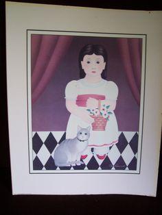 Vintage 1987 Art Print  CARINE signed by M. Fredrik  20 x 16 Litho USA by LIZ404 on Etsy
