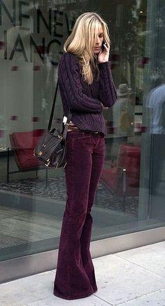 Love her burgundy corduroy bell bottoms