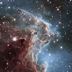 """//This Hubble Space Telescope photo shows NGC 2174, the """"Monkey Head Nebula,"""" located 6,400 light-years from Earth."""