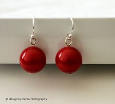 Large Red Coral Swarovski Pearl Earrings by designbybehin on Etsy,
