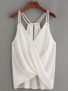 Details about Fashion Women Sleeveless Crop Top Vest Tank Shirt Loose Chiffon Blouse Cami Tops - - Strappy Crop Top, Sleeveless Crop Top, Style Casual, Casual Tops, White Casual, Casual Shirt, Diy Vetement, Summer Blouses, Summer Tops