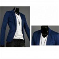 Spring Fashion Men's Slim Small Suits - Blue (XL) $47.65
