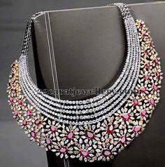 Jewellery Designs: White Gold Ruby Diamond Choker