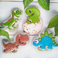 Royal Icing Cookies, Cake Cookies, Sugar Cookies, Dinosaur Cookies, Dinosaur Party, Gingerbread Icing, Irish Potatoes, Cookies For Kids, Third Birthday