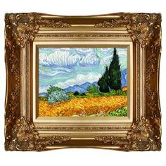 """Add gallery-worthy appeal to your walls with this hand-painted oil on canvas reproduction of Vincent van Gogh's Wheat Field with Cypresses. Display it alone as an artful focal point or group it with similar styles for an eye-catching vignette.  Product: Canvas reproductionConstruction Material: Canvas and woodColor: Gold frameFeatures:  Ready to hangCertificate of authenticity includedMade in the USA Hand-paintedDimensions: 16"""" H x 18"""" W x 2"""" DCleaning and Care: Wipe clean with a damp ..."""